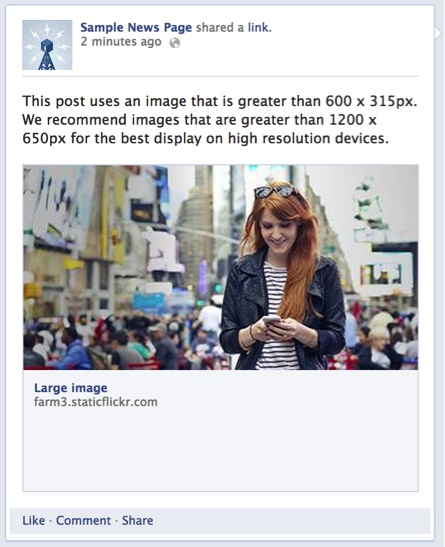 Correct image size in the og: image tag
