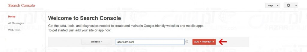 Enter the name of the site for Google registration