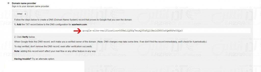 Select Domain name provider method