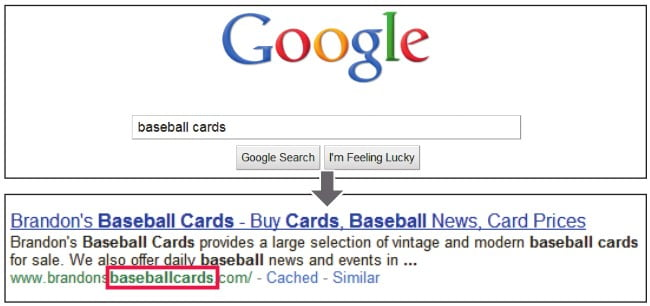 (The user searches for the word baseball cards and it appears at the address below the snippet.)