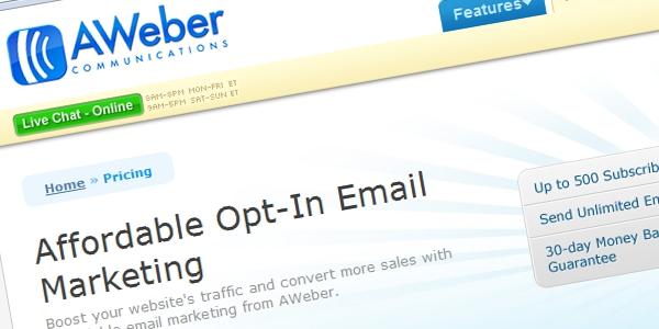 service de marketing par e-mail - AWeber