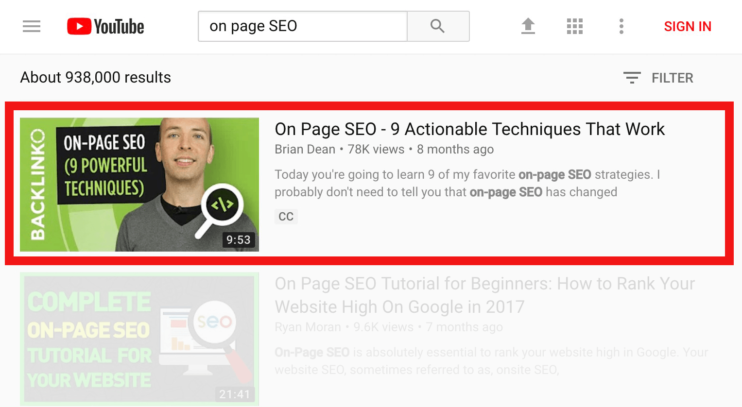 Improve YouTube video rankings for on-page-seo