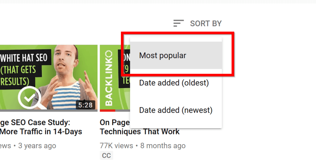 Sort videos by popularity on YouTube