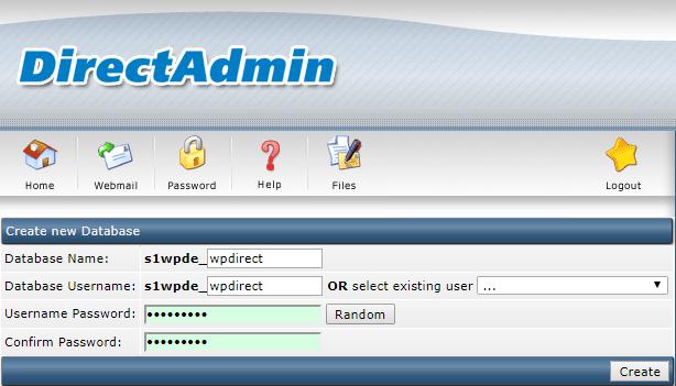 db info- Install WordPress on Direct Admin