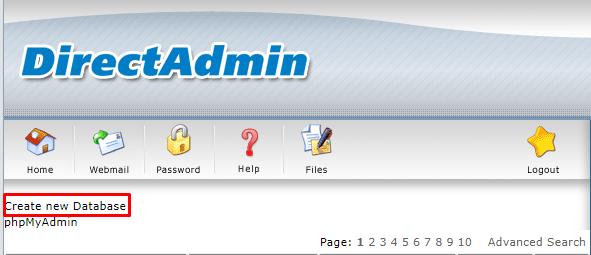 create db- Install WordPress on Direct Admin