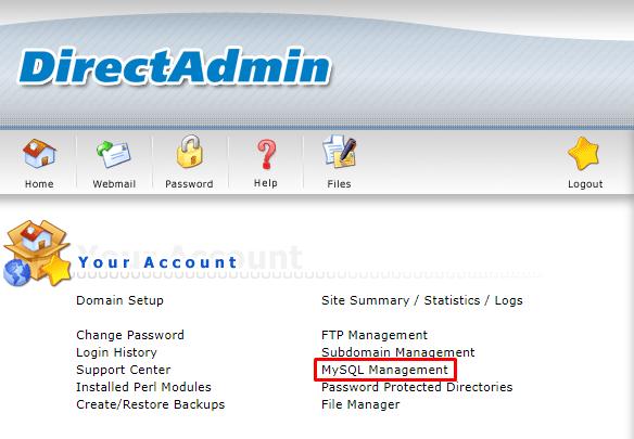 mysql- Install WordPress on Direct Admin