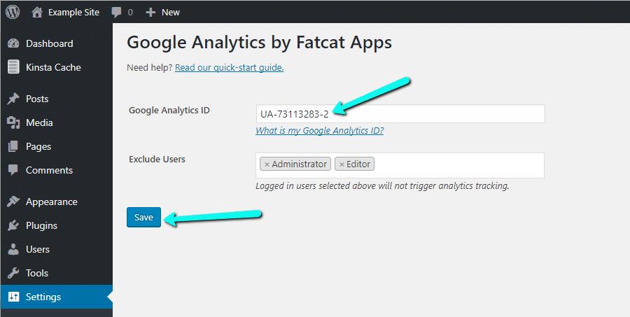 Insert Tracking ID in Analytics Cat