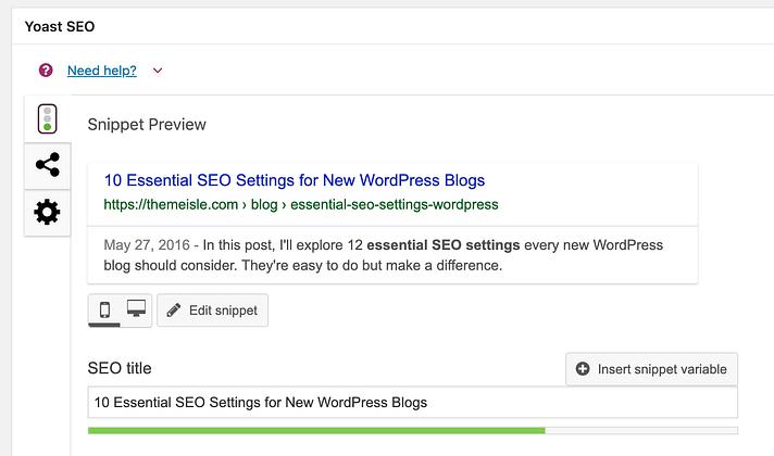 Yoast SEO Meta Box in WordPress Posts